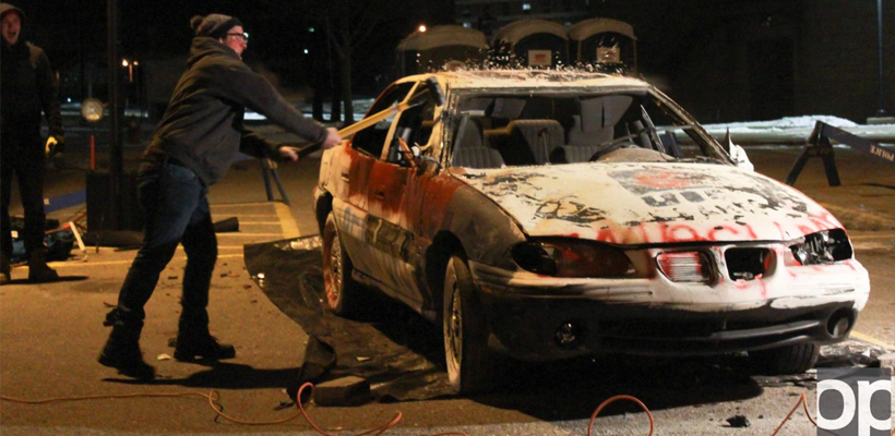 TKE fraternity smashes car for good cause